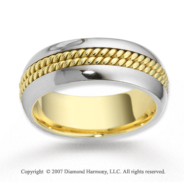 14k Two Tone Gold Forevermore Rope Wedding Band