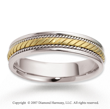 14k Two Tone Gold Forever Stylish Braided Wedding Band