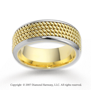 14k Two Tone Gold Elegant Thick Rope Wedding Band