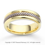 14k Two Tone Gold Fine Stylish Rope Wedding Band