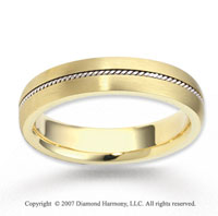 14k Two Tone Gold Fashionable Rope Wedding Band