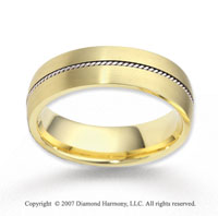 14k Two Tone Gold Fashionable Fine Rope Wedding Band