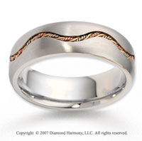14k Tri Tone Gold Wave Channel Braided Wedding Band