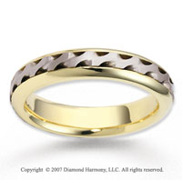 14k Two Tone Gold Stylish Fashion Braided Wedding Band