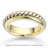 14k Two Tone Gold Grand Milgrain Rope Wedding Band