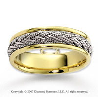 14k Two Tone Gold Splendid Fashion Braided Wedding Band