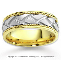 14k Two Tone Gold Elegant Modern Braided Wedding Band