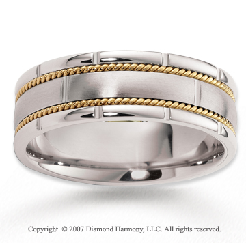 14k Two Tone Gold Perfe Carat Harmony Braided Wedding Band