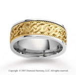 14k Two Tone Gold Elegant Deco Rope Wedding Band