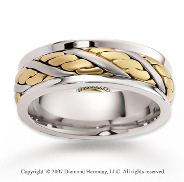 14k Two Tone Gold Modern Trend Braided Wedding Band