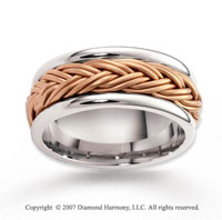 14k Two Tone Gold Stylish Elegant Braided Wedding Band