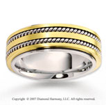 14k Two Tone Gold Stylish Forever Rope Wedding Band