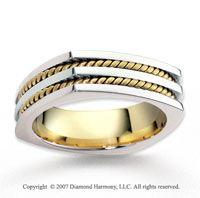 14k Two Tone Gold Modern Harmony Rope Wedding Band