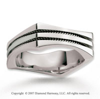 14k White Gold Modern Harmony Braided Wedding Band
