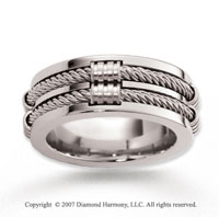 14k White Gold Fashionable Modern Rope Wedding Band