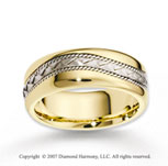 14k Two Tone Gold Elegant Weave Braided Wedding Band