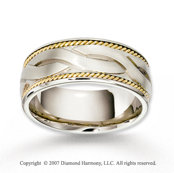 14k Two Tone Gold Stylish Carved Braided Wedding Band