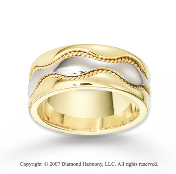 14k Two Tone Gold Elegant Wave Braided Wedding Band
