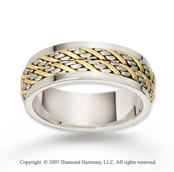 14k Two Tone Gold Elegant Grand Braided Wedding Band