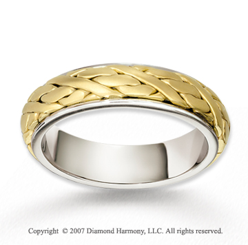 14k Two Tone Gold Elegant Love Braided Wedding Band
