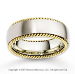 14k Two Tone Gold Smooth Stylish Rope Wedding Band