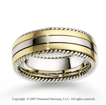 14k Two Tone Gold Elegant Forever Rope Wedding Band