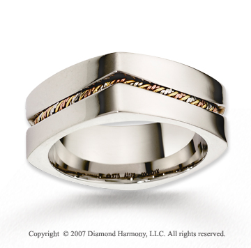 14k Tri Tone Gold Modern Class Braided Wedding Band