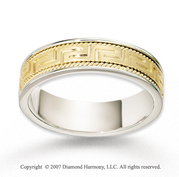 14k Two Tone Gold Greek Key Fine Braided Wedding Band