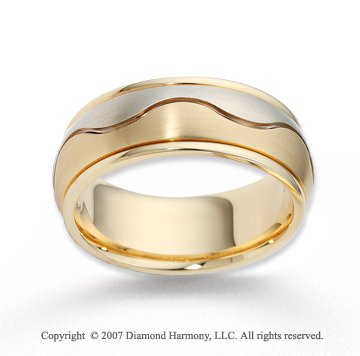 14k Two Tone Gold Smooth Wave Fine Carved Wedding Band