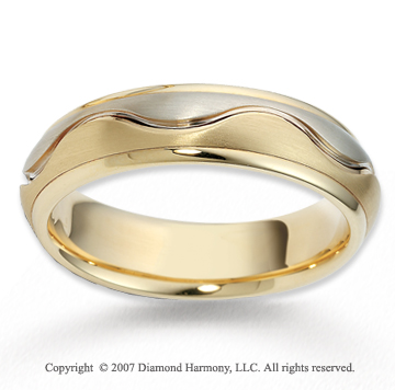 14k Two Tone Gold Elegant Wave Fine Carved Wedding Band