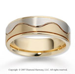 14k Two Tone Gold Stylish Wave Fine Carved Wedding Band