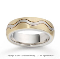 14k Two Tone Gold Forever Wave Fine Carved Wedding Band