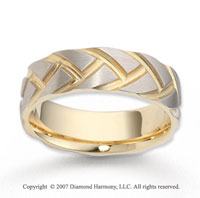 14k Two Tone Gold Modern Fashion Carved Wedding Band