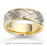 14k Two Tone Gold Stylish Modern Carved Wedding Band