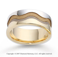 14k Two Tone Gold Forever Harmony Carved Wedding Band