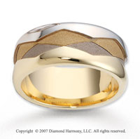 14k Two Tone Gold Stylish Harmony Carved Wedding Band