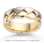 14k Two Tone Gold Modern Trendy Carved Wedding Band