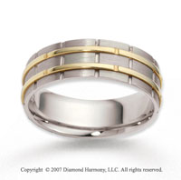 14k Two Tone Gold Elegant Trendy Carved Wedding Band