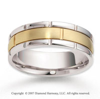 14k Two Tone Gold Elegant Trend Carved Wedding Band