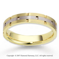 14k Two Tone Gold Solid Harmony Carved Wedding Band