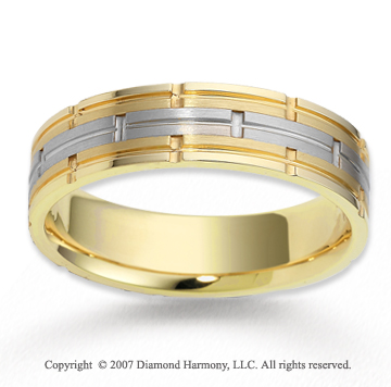 14k Two Tone Gold Stylish Deco Carved Wedding Band