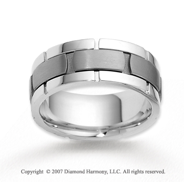 14k White Gold Stylish Modern Class Carved Wedding Band