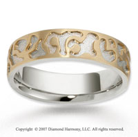 14k Two Tone Gold Classy Great Carved Wedding Band