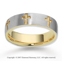14k Two Tone Gold Elegant Cross Carved Wedding Band