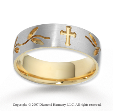 14k Two Tone Gold Stylish Cross Carved Wedding Band