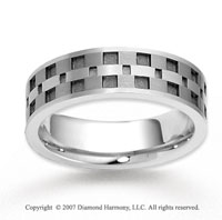 14k White Gold Elegant Square Pattern Carved Wedding Band