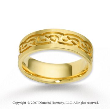 14k Yellow Gold Stylish Deco Fine Carved Wedding Band