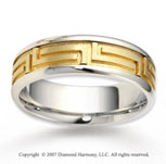 14k Two Tone Gold Classy Deco Fine Carved Wedding Band