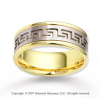 14k Two Tone Gold Graceful Deco Carved Wedding Band