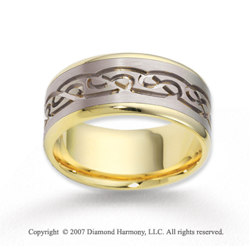 14k Two Tone Gold Stylish Pattern Carved Wedding Band